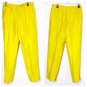 Chloe Stora Pavel Golden Yellow Linen SZ 36 Pants